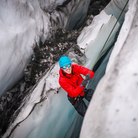 Scout Climbing in crevasse