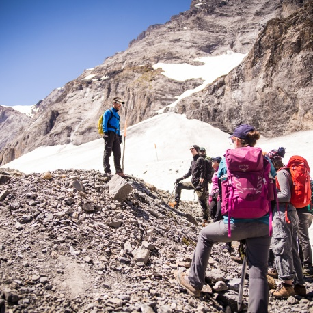 Scouts arriving at the Lötchen glacier